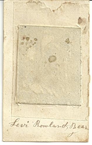 Reverse of tintype of Levi Rowland Bear