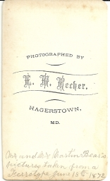 Reverse of carte de visite portrait of Martin and Elizabeth Bear by E. M. Recher (from a tintype)