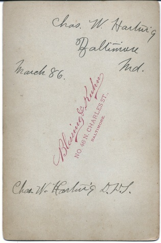 Reverse of cabinet card portrait of Dr. Charles W. Hartwig