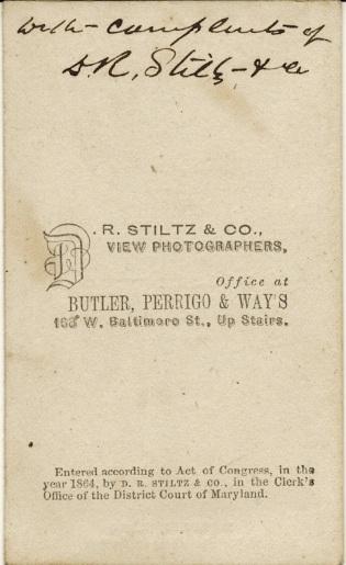 Reverse of carte de visite view of St. Luke's Episcopal Church, Baltimore, by D. R. Stiltz