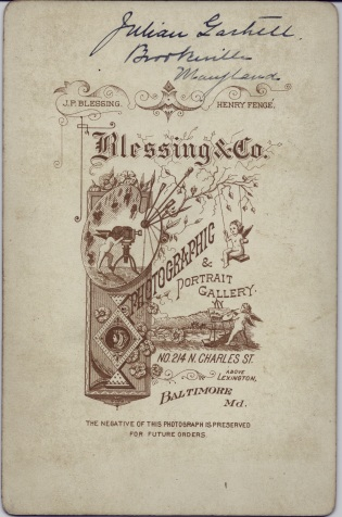 Reverse of cabinet card portrait of Julian Gartrell by Blessing & Co., Baltimore