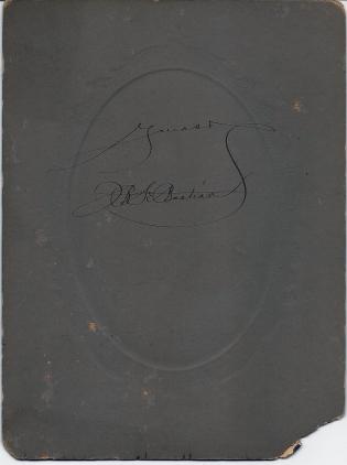 Reverse of cabinet card photograph of James Burnite SeBastian by William Ashman