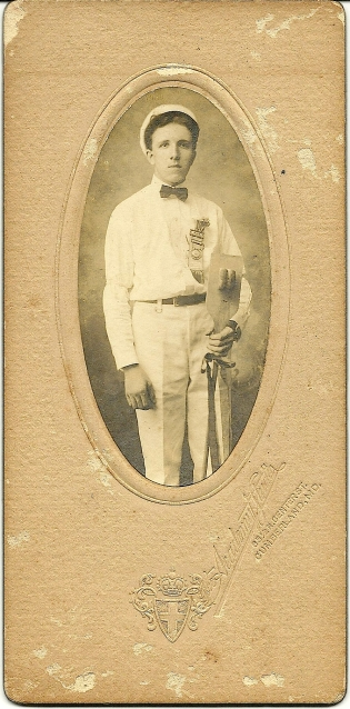 Cabinet card portrait of Hubert Slifer Smith, Academy Studio, Cumberland, Md.