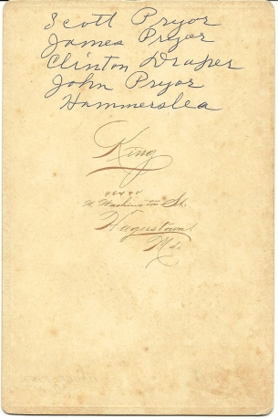 Reverse of cabinet card photograph of John, Scott, James Pryor, Clinton Draper and Joe Hammersla