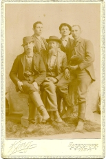 Cabinet card photograph of John, James and Scott Pryor, Clinton Draper, and Joe Hammersla