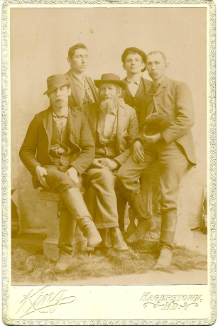Cabinet card photograph of John, James and Scott Pryor, Clinton Draper, and Joe Hammersla