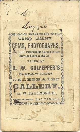 Reverse of tintype of C. H. Stanley, D. W. Culpepper Gallery, Baltimore, Md.