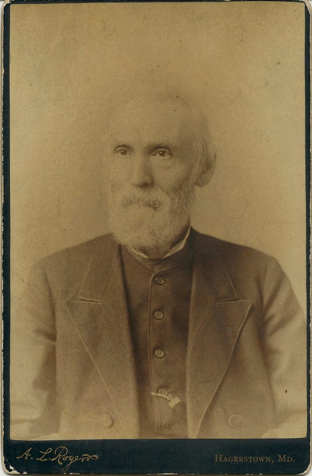 Cabinet card portrait of Peter J. Adams, A.L.Rogers Studio, Hagerstown, Md.