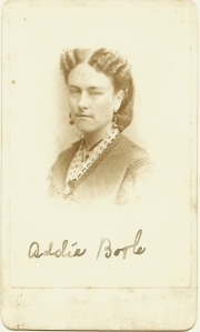 Carte de visite of Addie Bogle by Stanton & Butler, Baltimore, Md.
